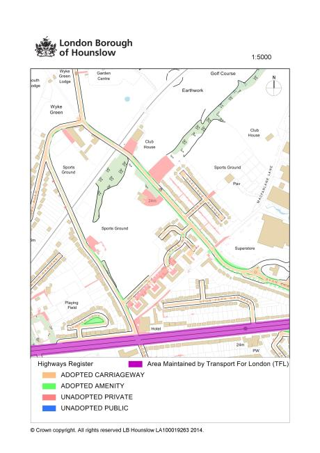 Hounslow Council's highways register clearly shows the EFA's trespass