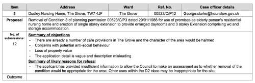 Dudley House extract from LBH Planning Pending Decisions List