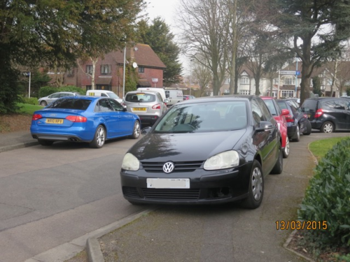 Example of the type of parking on Stags Way concerning residents