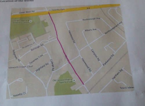 The area of Wood Lane between Great West Road and Parkwood Road due to be resurfaced