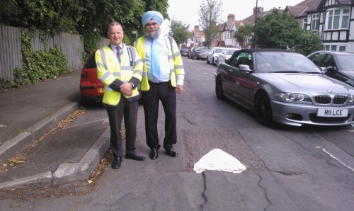 Messrs Gillespie and Gill of Hounslow Highways during their inspection of Wood Lane in June