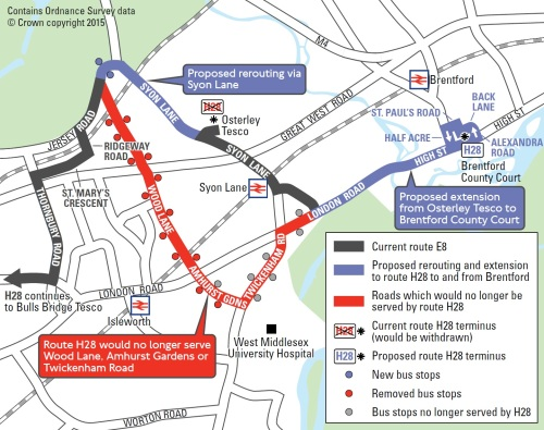 Proposed new route for the H28 which will see the removal of a service to West Middlesex Hospital operating since 1995