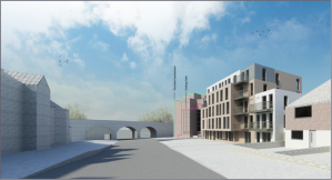 Image of proposed development to replace Moore's Cycles, St Johns Road, Isleworth