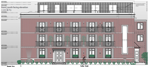 Proposed front elevation at Dudley House, The Grove, Isleworth
