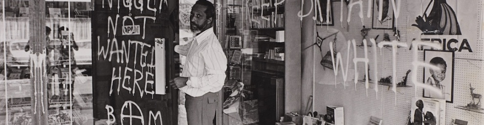 Mr Huntley after one of the regular late 1970s racist attacks on the Bogle-L'Ouverture Bookshop at Chignell Place, West Ealing